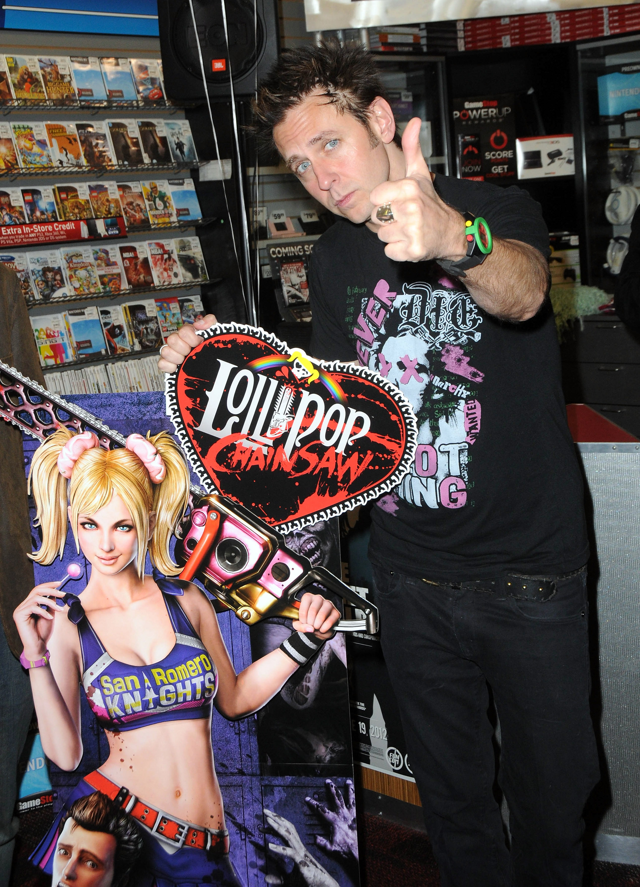 "Writer/director James Gunn participates in the Warner Bros. Interactive Entertainment And Grasshopper Manufactures ""Lollipop Chainsaw"" Launch Party held at Gamestop on June 11, 2012 in West Hollywood, California. (Photo by Albert L. Ortega/Getty Images)"