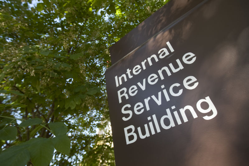 A sign identifies the Internal Revenue Service (IRS) building in Washington, DC, on Friday, May 7, 2010.