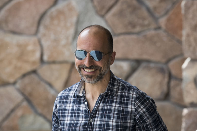 Dara Khosrowshahi, chief executive officer of Uber, arrives at the Sun Valley Resort for the annual Allen & Company Sun Valley Conference, July 10, 2018 in Sun Valley, Idaho.