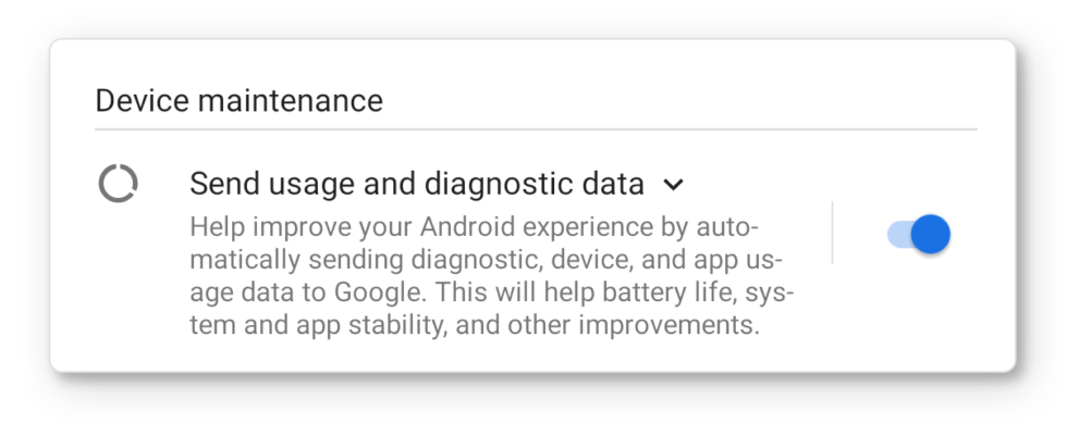 Google's Android telemetry checkbox from the initial setup. All this data actually goes somewhere.