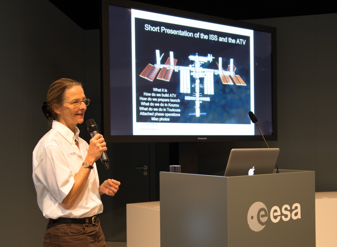 Charlotte Beskow gives a presentation on the ATV at the Paris Air Show.