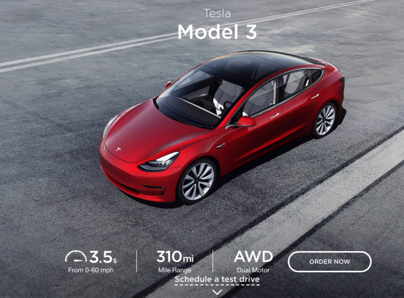 Tesla's Model 3 page on Friday.