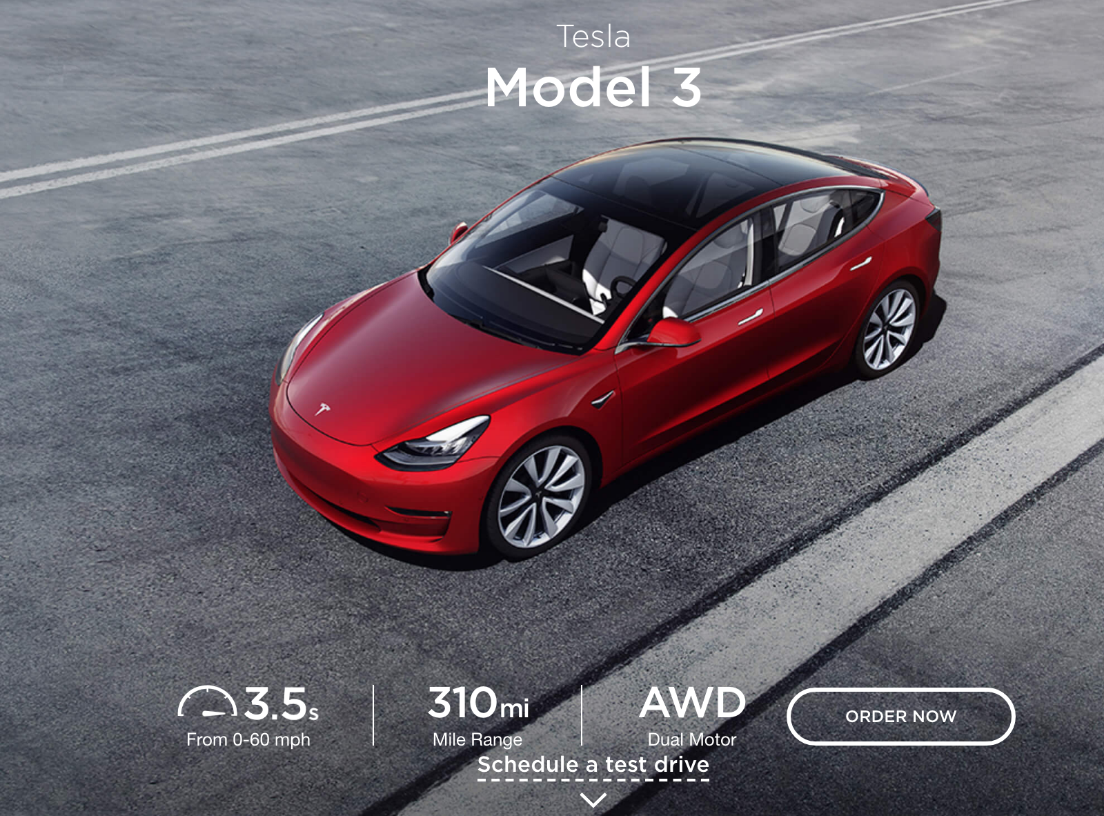Tesla's Model 3 page in July 2018.