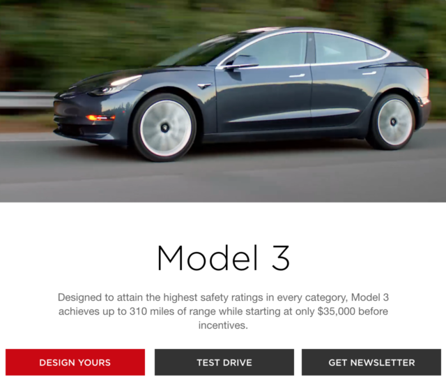Tesla drops $35,000 price from Model 3 page—insists plans