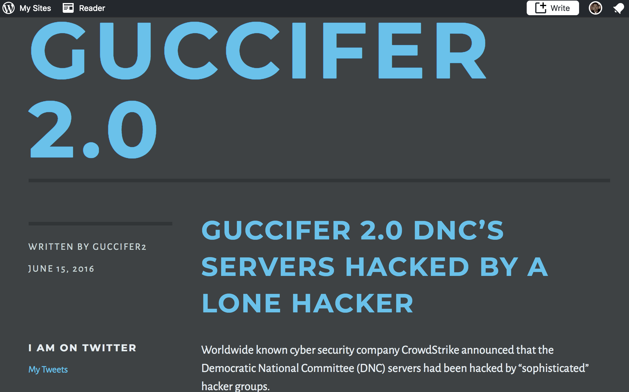 The Guccifer 2.0 weblog on WordPress.com.