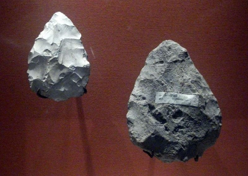 Neanderthals used stone hand axes, or bifaces, like these, along with chunks of pyrite, to light fires.