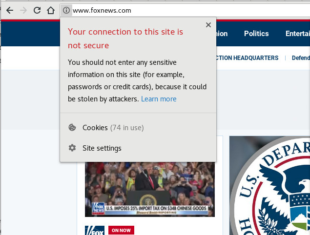 Fox News is one of three top news websites that are not encrypting content.
