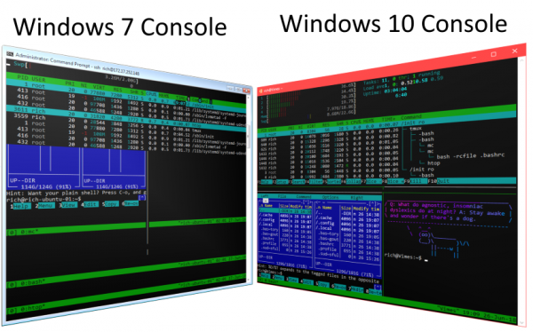 The Windows 7 console didn't support VT codes, so it completely garbles the output of applications that depend on VT codes. The Windows 10 console, however, does support VT codes, making it much more capable.