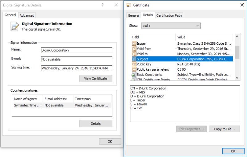 Screenshot of D-Link certificate.