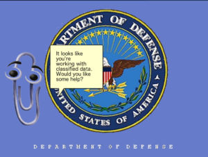 Image of Clippy superimposed on Department of Defense logo