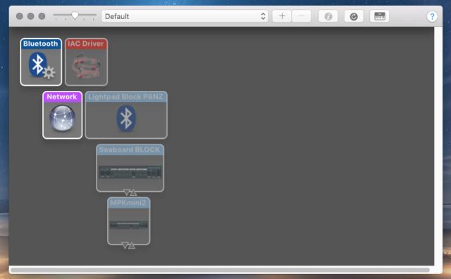 The MIDI setup panel in macOS.