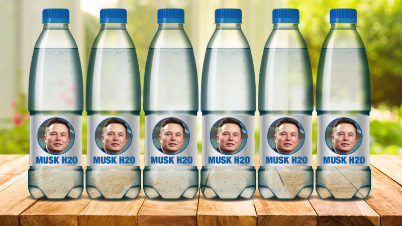 Bottled waters with Elon Musk's face on them.