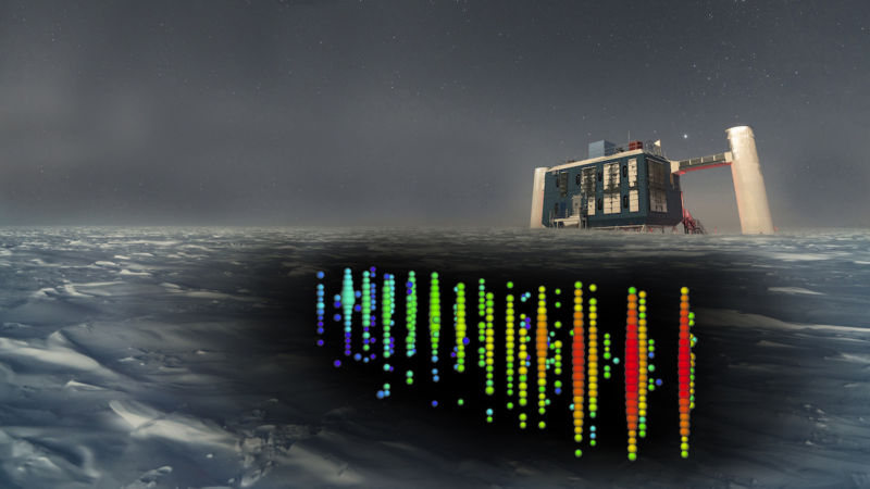 Image of the IceCube detector building and a representation of the hardware in the ice underneath it.