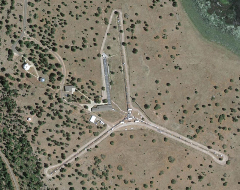 The Y-shaped Navy Precision Optical Interferometer in northern Arizona can function like a telescope with a mirror 400 meters wide.