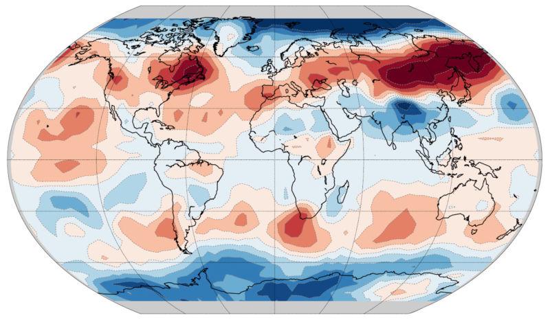 Heat map of the Earth.