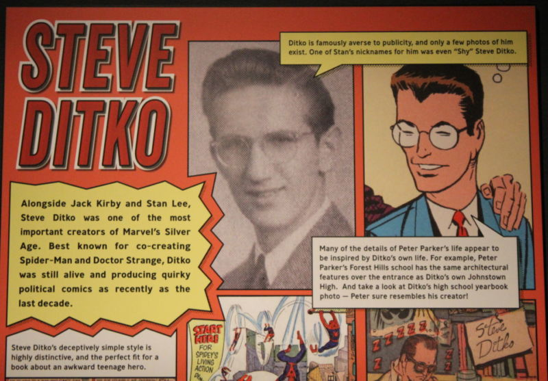 Even at the biggest Marvel Comics-related museum exhibit in the world, currently running in Seattle, WA, Steve Ditko's presence is limited by his famously reclusive nature.