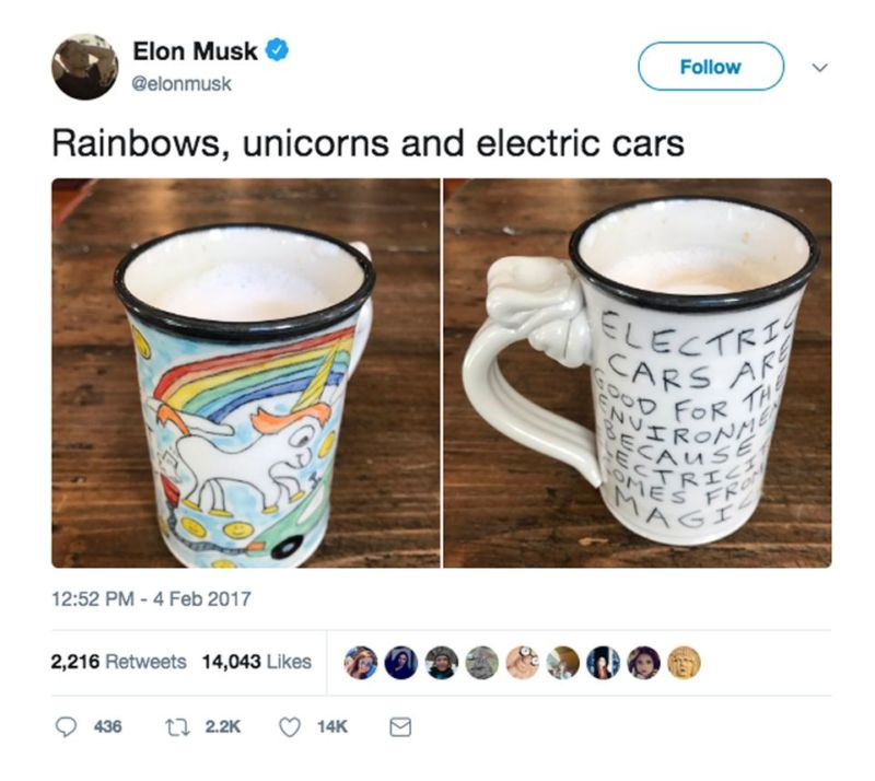 Twitter screenshot of two novelty mugs side by side.