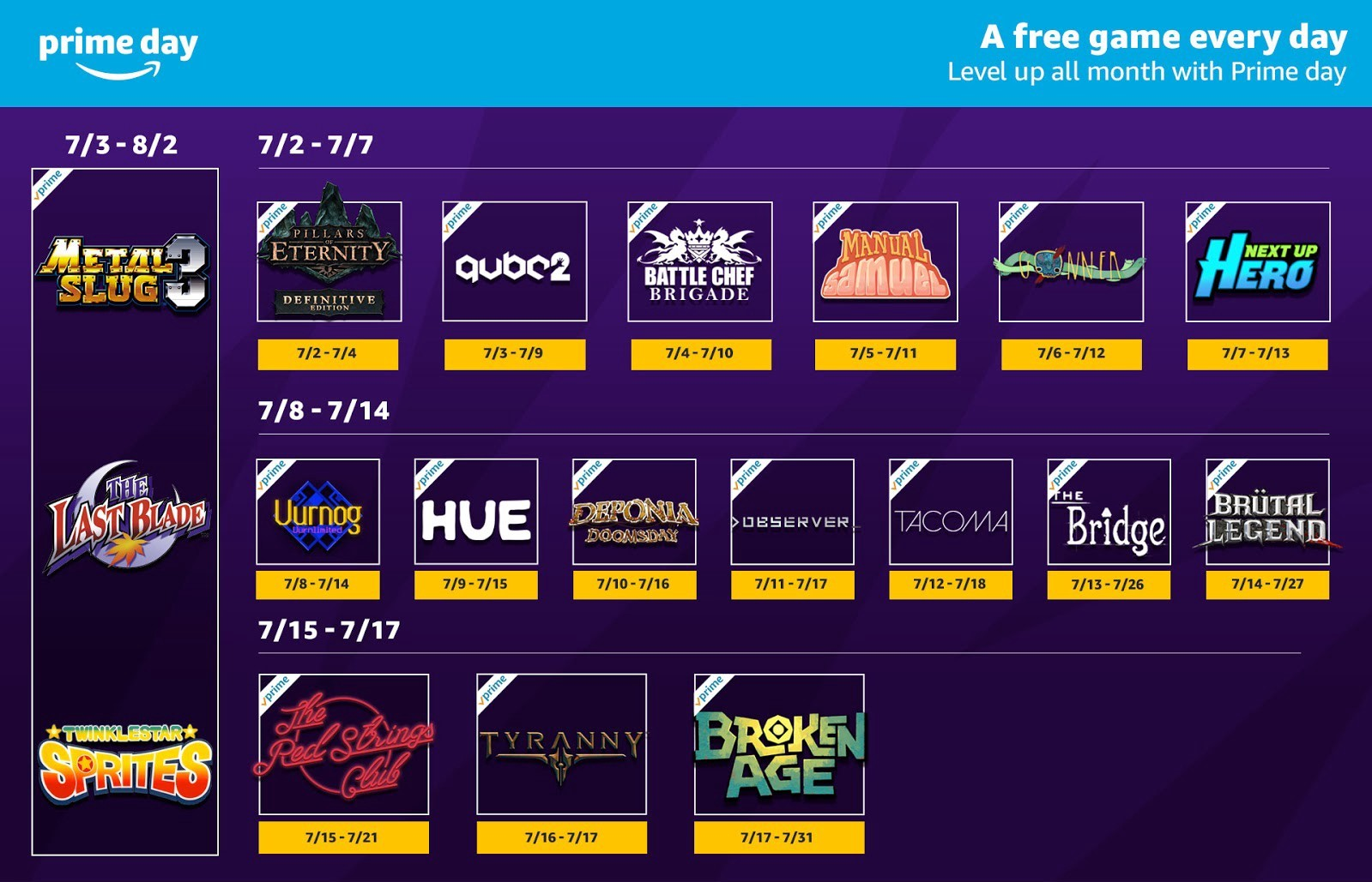 "Twitch Prime's ""free game every day"" for half of July adds"