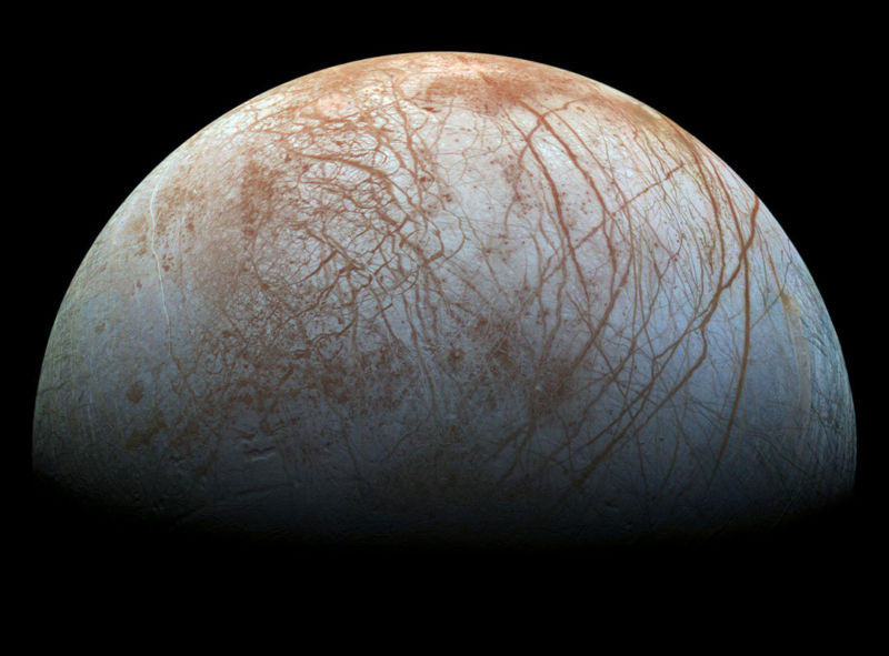 The puzzling, fascinating surface of Jupiter's icy moon Europa looms large in this newly reprocessed color view, made from images taken by NASA's Galileo spacecraft in the late 1990s. This is the color view of Europa from Galileo that shows the largest portion of the moon's surface at the highest resolution.