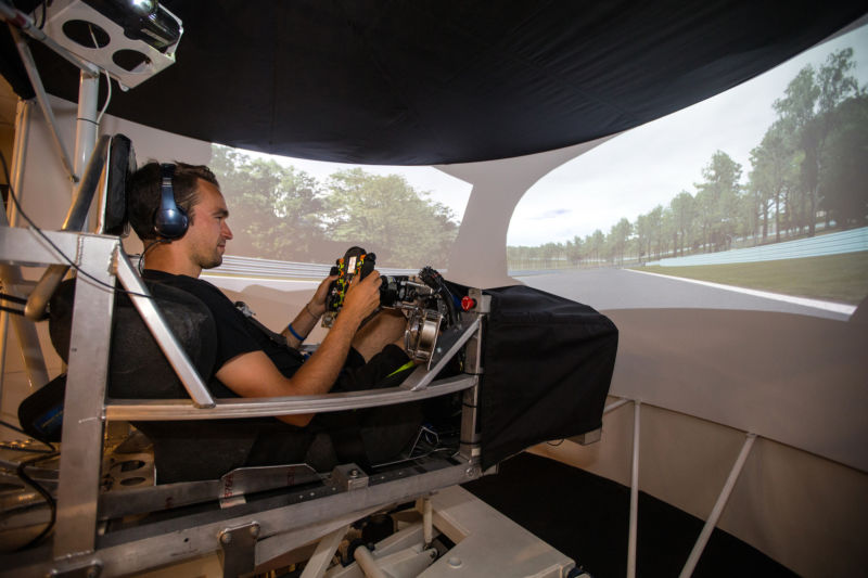 Harry Tincknell in the Multimatic simulator