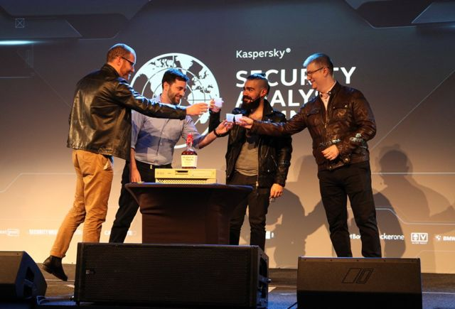 L to R: Thomas Rid, Daniel Moore, Juan Andres Guerrero-Saade, and Costin Raiu at the end of their Moonlight Maze presentation at last year's Kaspersky Security Analyst Summit.
