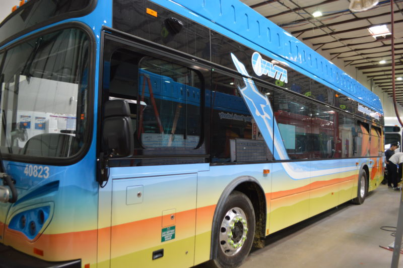 One of Antelope Valley Transit Authority's 79 electric buses.