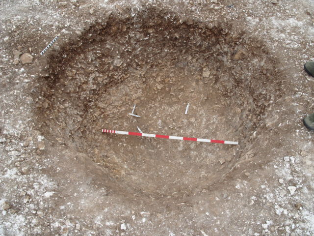 Aubrey Hole 7, where all 58 sets of cremated remains were re-interred after excavation in the 1920s.