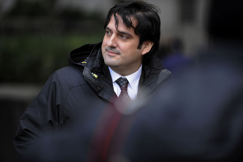 Paul Ceglia, indicted on charges of mail fraud and wire fraud, exits federal court in New York, on Wednesday, Nov. 28, 2012. Ceglia, 39, pleaded not guilty to criminal charges that he faked evidence in his contract lawsuit against Facebook Inc. and its chief executive officer, Mark Zuckerberg.