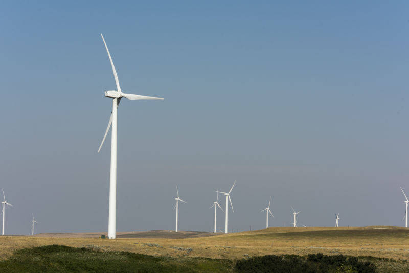 Wind turbines on private working ranch land on August 1, 2017 near Kevin, Montana.
