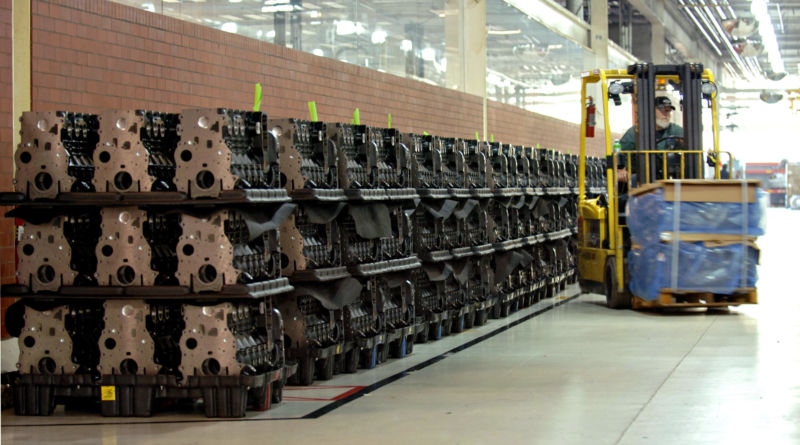 UNITED STATES - AUGUST 27:  Engine blocks are moved by a forklift operator before the assembly process at the Cummins Inc. engine plant in Walesboro, Indiana, Monday, Aug. 27, 2007. (Photo by Tom Strickland/Bloomberg via Getty Images)