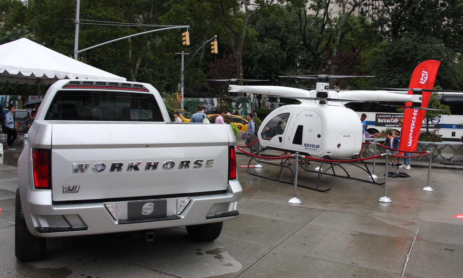 Workhorse brings an electric pickup truck, helicopter to Manhattan