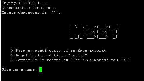 The welcome screen for Meet, a telnet-based chat application.