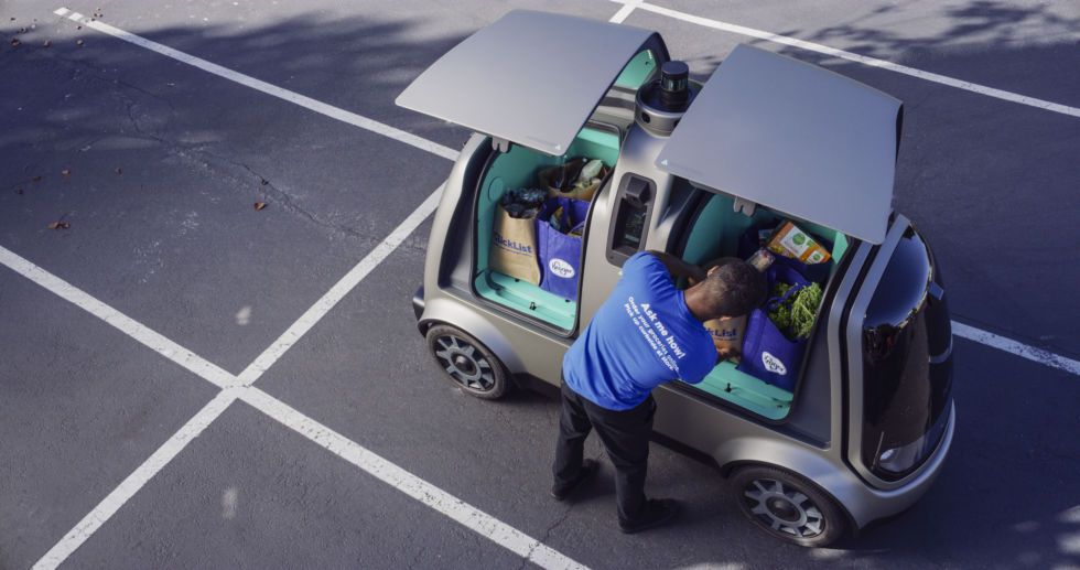 Kroger plans to begin using this self-driving vehicle, made by startup Nuro, for grocery deliveries this fall.