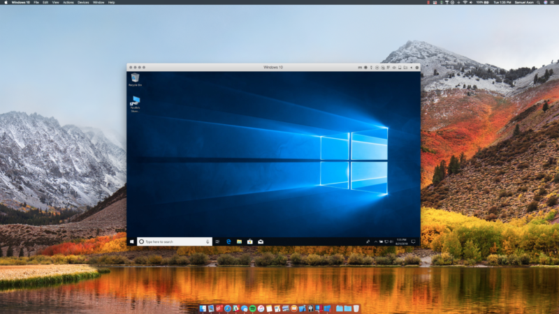 Parallels Desktop 14 running Windows 10 in macOS High Sierra.