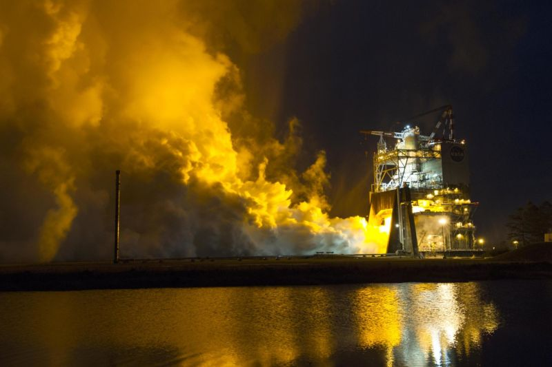 NASA conducts a test of an RS-25 rocket engine on the A-1 Test Stand at Stennis Space Center.