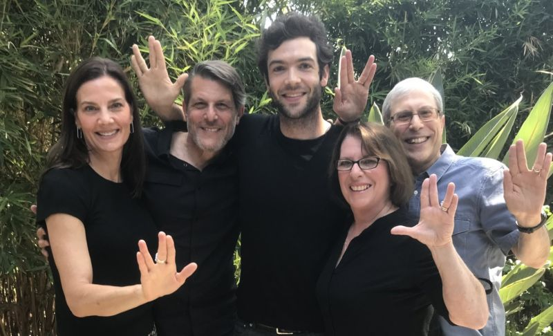 Ethan Peck (center) poses with members of the Nimoy and <em>Star Trek</em> families.