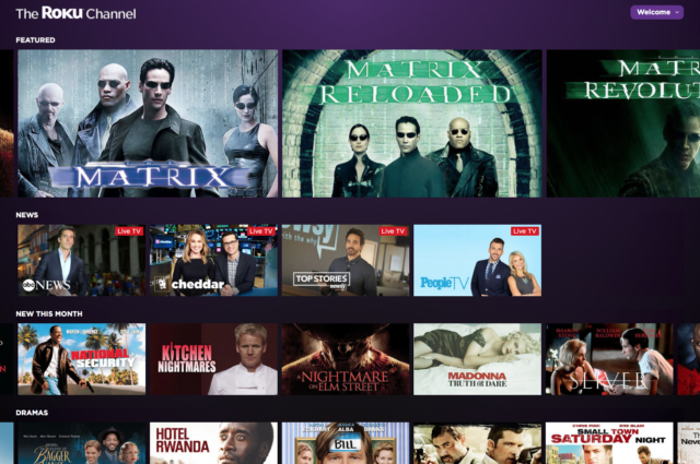 The Roku Channel is now available on the Web without a Roku