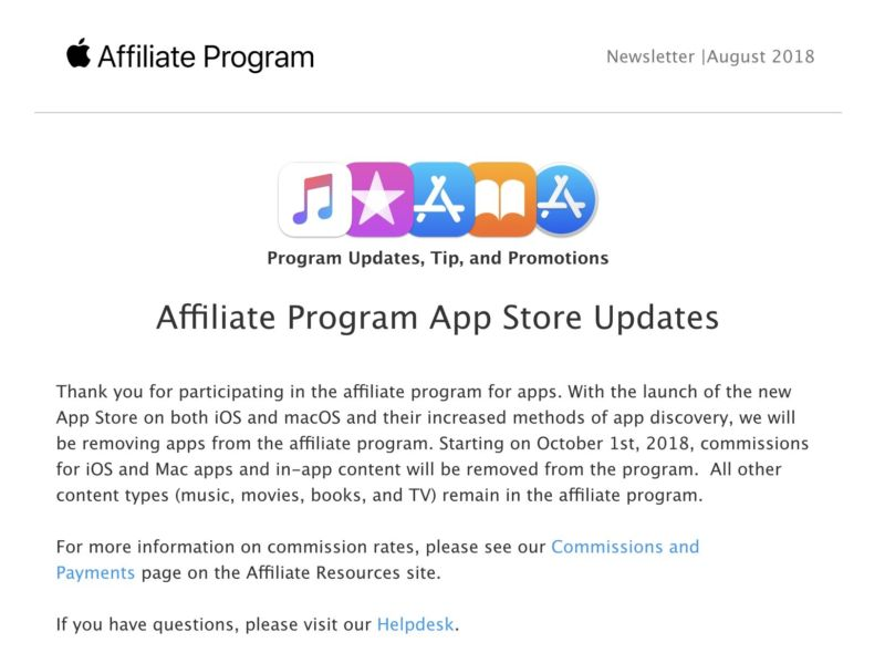 The note sent to affiliate program members letting them know a major source of revenue will be going away.