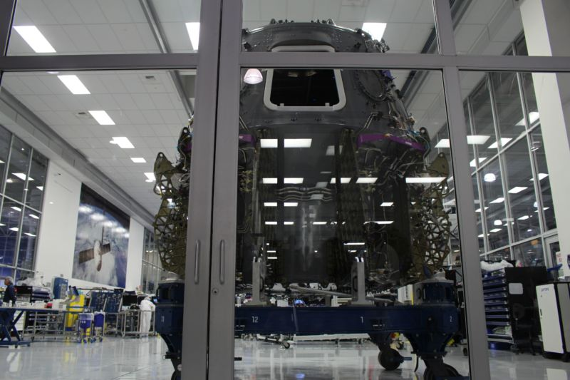 A 2018 view of the clean room where the spacecraft for the first crewed Dragon mission was nearing completion. It will now be used for an In-Flight Abort test instead.