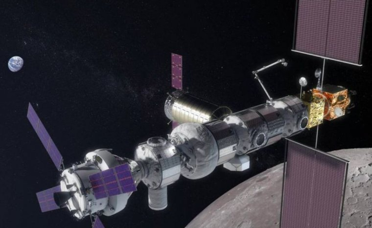 A rendering of NASA's proposed lunar gateway.