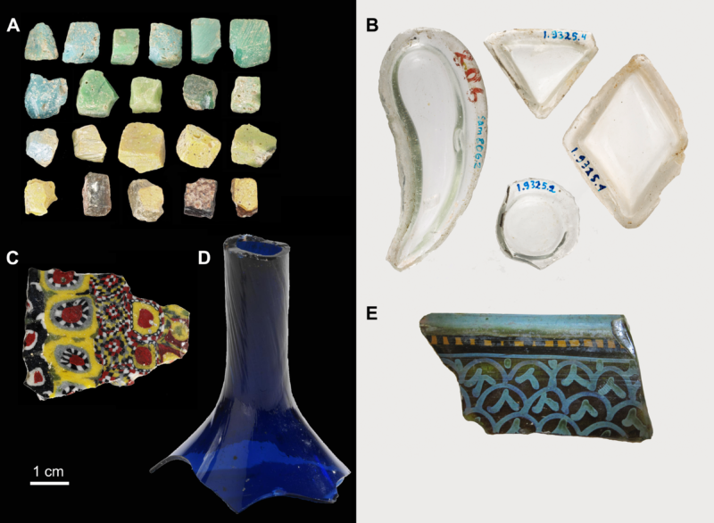 A) Mosaic tesserae; (B) glass inlays; (C) fragment of millefiori glass tile; D) cobalt blue flask neck; (E) rim fragment of painted glass bowl.