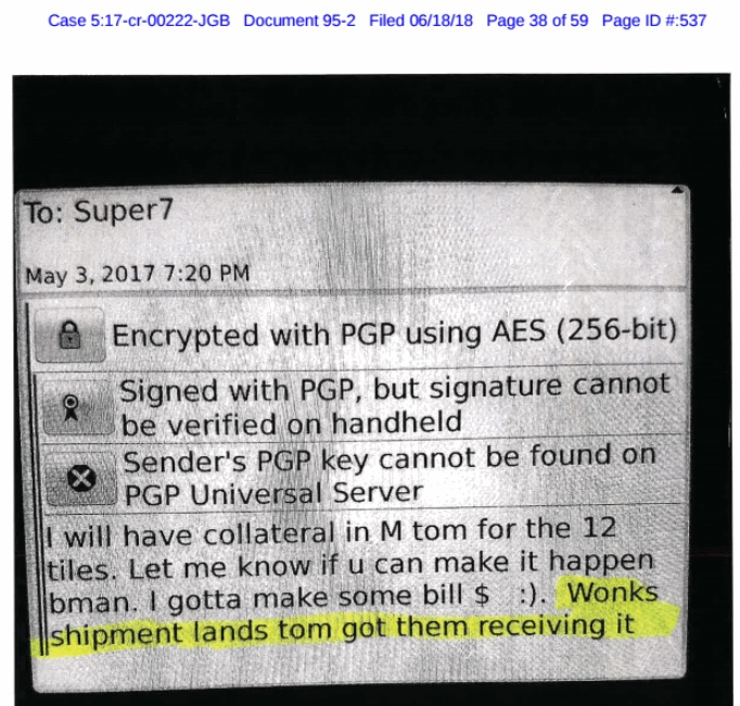 An example of an encrypted message, as revealed in court documents.