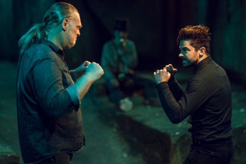 Jesse Custer (Dominic Cooper) faces off against childhood nemesis Jody (Jeremy Childs) in the season 3 finale of <em>Preacher</em>.