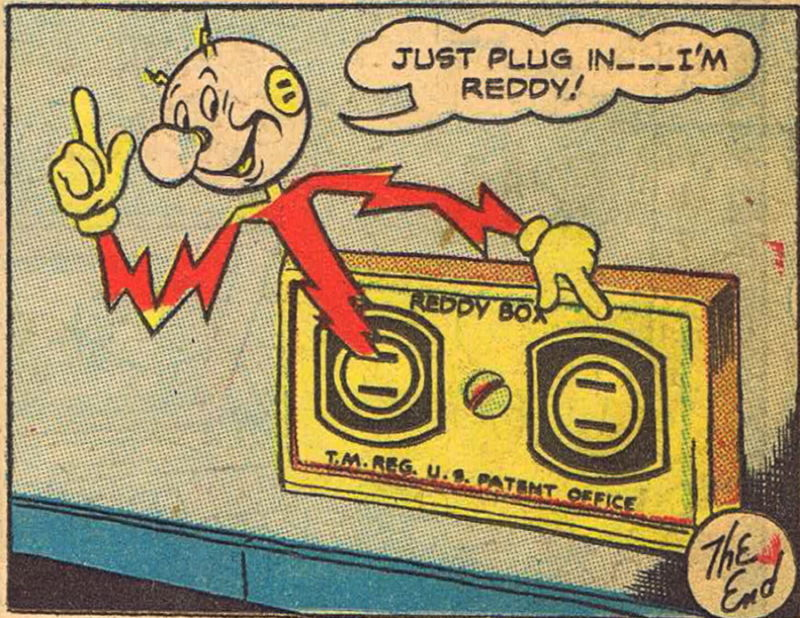 Comic-book panel featuring an anthropomorphized electrical current.