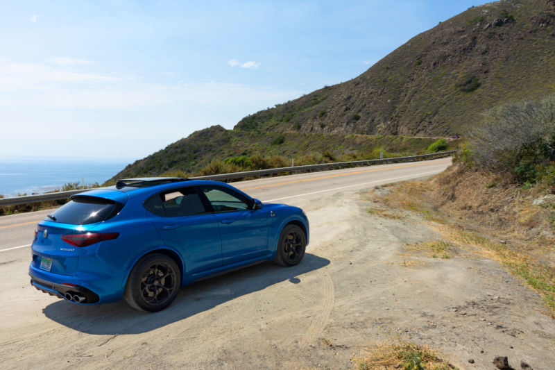 The Alfa Romeo Stelvio Quadrifoglio on a stretch of the Pacific Coast Highway in Big Sur.
