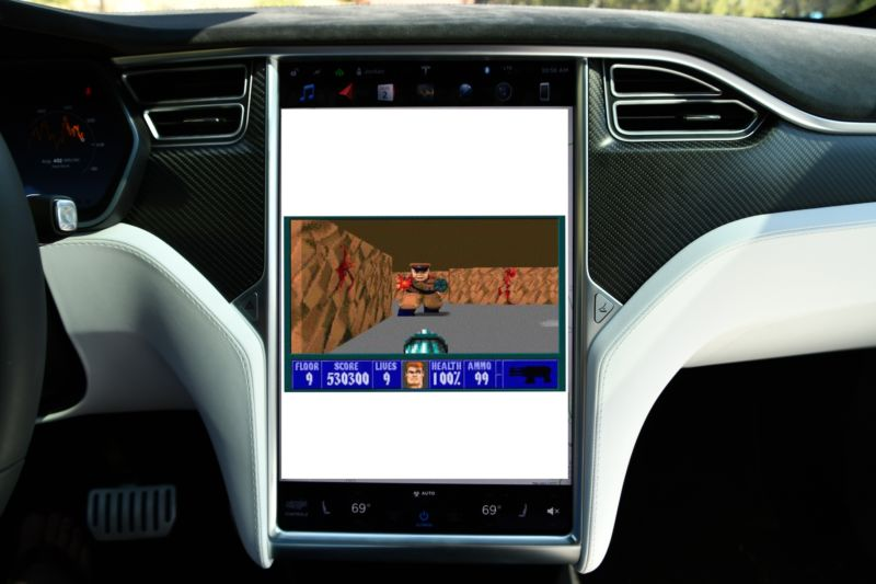 An artist's approximation of what an in-car Tesla game might look like. Remember, steer <em>into</em> the Nazis.