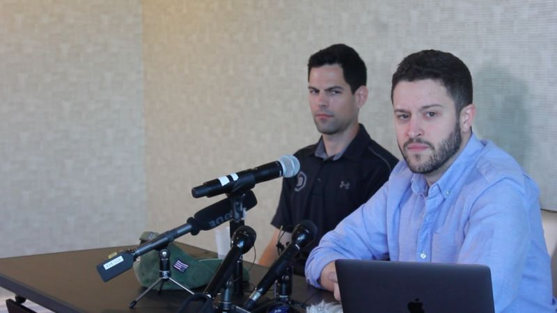 Cody Wilson (right), the founder of Defense Distributed, spoke to reporters in Austin on August 28.
