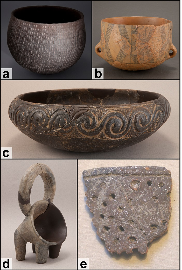 A rhyton (d) and fragment of a sieve (e) from the Neolithic villages.
