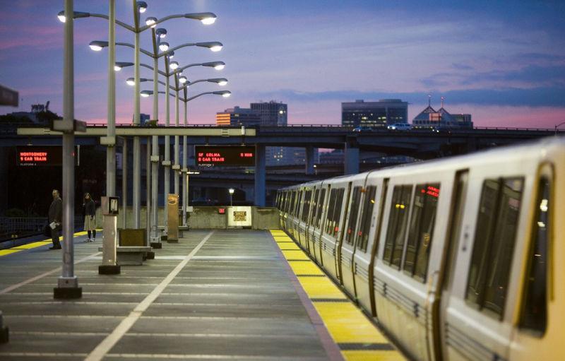 Rapid transit station empty at night.