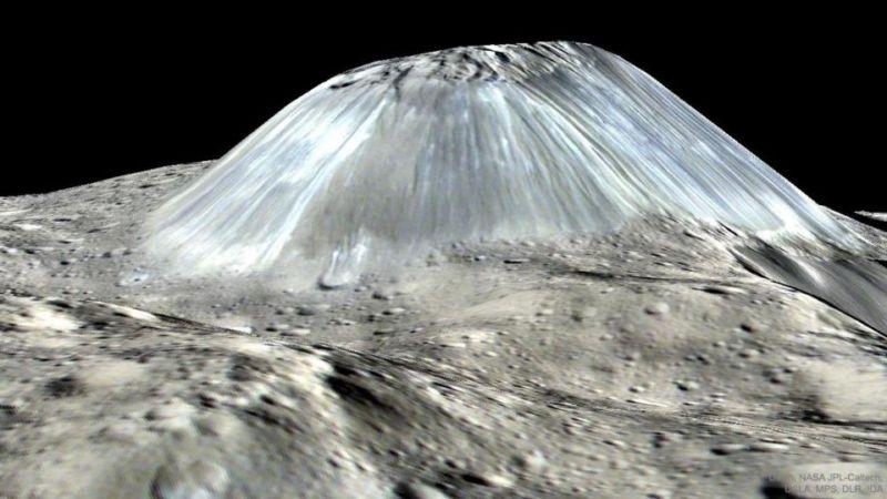 Ahuna Mons, a likely cryovolcano.